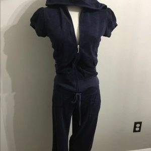 Juicy Couture Navy terry cropped set